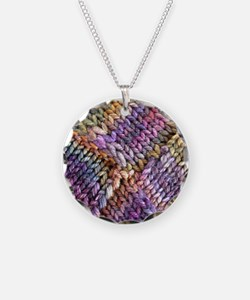Entrelac Knit  multi-colored Necklace