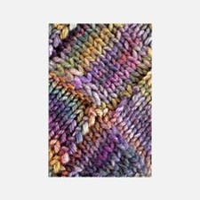 Entrelac Knit  multi-colored Rectangle Magnet