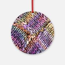 Entrelac Knit  multi-colored Round Ornament