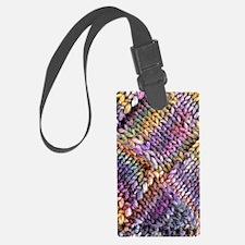 Entrelac Knit  multi-colored Luggage Tag