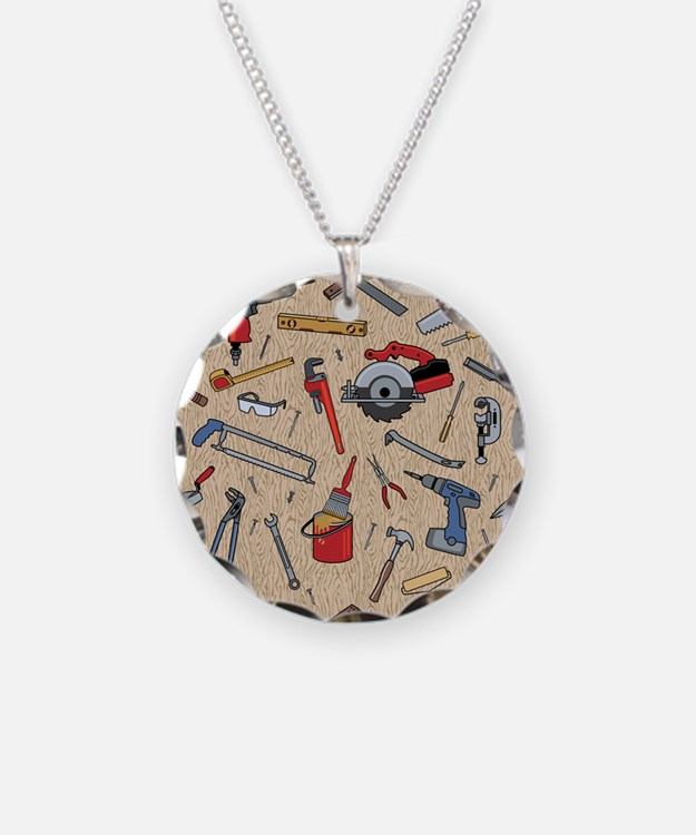 Work Tools on Wood Necklace