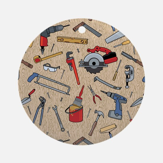 Work Tools on Wood Round Ornament