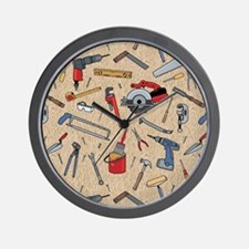 Work Tools on Wood Wall Clock