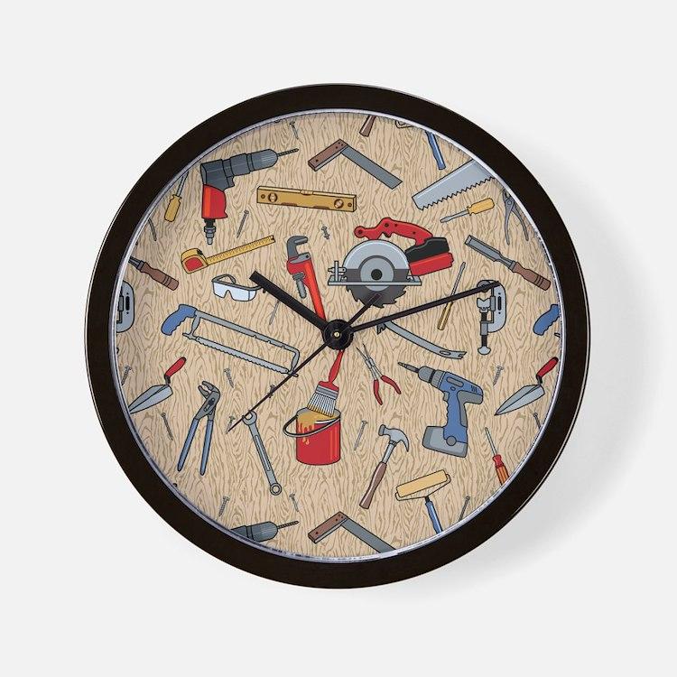 Work Tools on Wood Wall Clock