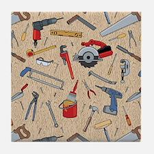 Work Tools on Wood Tile Coaster