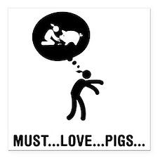 "Pig-Lover-C Square Car Magnet 3"" x 3"""
