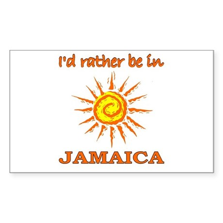 I'd Rather Be In Jamaica Rectangle Sticker