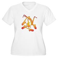 Fiery Saxophones Plus Size V-Neck T-Shirt