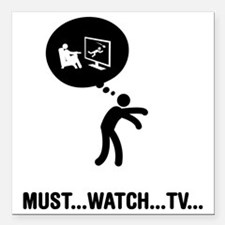 """TV-Watching-A Square Car Magnet 3"""" x 3"""""""