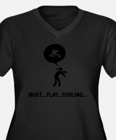 Curling-A Women's Plus Size Dark V-Neck T-Shirt