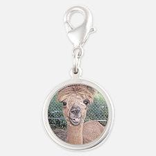 Alpaca Giving Raspberries Silver Round Charm