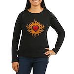 Burning Heart Women's Long Sleeve Dark T-Shirt
