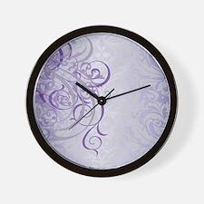 Vintage Rococo Purple Damask Wall Clock