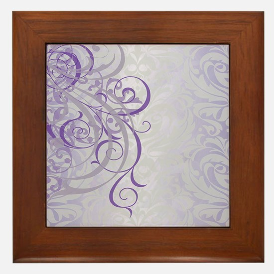 Vintage Rococo Purple Damask Framed Tile