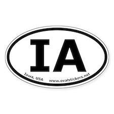 Iowa, USA Oval Bumper Stickers