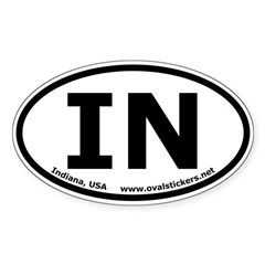 Indiana, USA Oval Bumper Decal