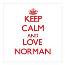 """Keep calm and love Norman Square Car Magnet 3"""" x 3"""
