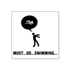 "Swimming-C Square Sticker 3"" x 3"""