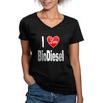 I Love BioDiesel (Front) Women's V-Neck Dark T-Shi