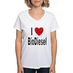 I Love BioDiesel (Front) Women's V-Neck T-Shirt