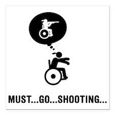 "Wheelchair-Shooting-A Square Car Magnet 3"" x 3"""
