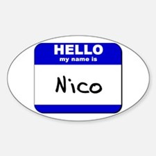 hello my name is nico Oval Decal