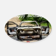 Burnt car Oval Car Magnet