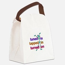 Tuned In Tapped In Turnned On Gra Canvas Lunch Bag