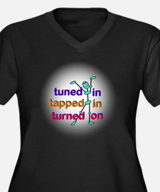 Tuned In Tap Women's Plus Size Dark V-Neck T-Shirt
