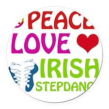 Peace Love Irish Stepdance Round Car Magnet