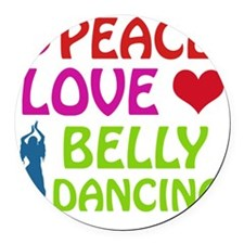 Peace Love Belly Dancing Round Car Magnet