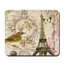 Vintage French Eiffel Tower with bird Mousepad