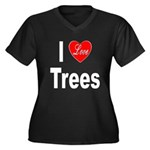 I Love Trees (Front) Women's Plus Size V-Neck Dark