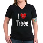 I Love Trees (Front) Women's V-Neck Dark T-Shirt