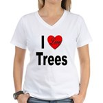 I Love Trees (Front) Women's V-Neck T-Shirt