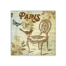 "Vintage shabby chic French  Square Sticker 3"" x 3"""