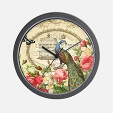 Vintage French Peacock and roses Wall Clock