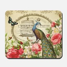 Vintage French Peacock and roses Mousepad