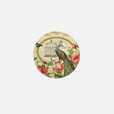 Vintage French Peacock and roses Mini Button