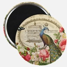 Vintage French Peacock and roses Magnet
