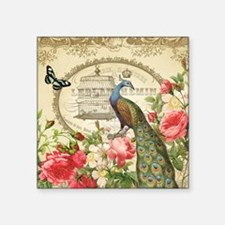 """Vintage French Peacock and  Square Sticker 3"""" x 3"""""""
