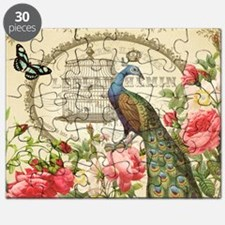 Vintage French Peacock and roses Puzzle