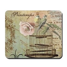 Vintage French Shabby chic birdcage Mousepad