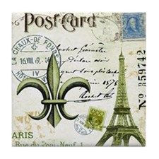 Vintage French Eiffel Tower and fleur Tile Coaster