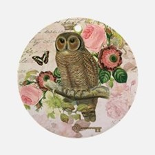 Vintage French shabby chic owl Round Ornament