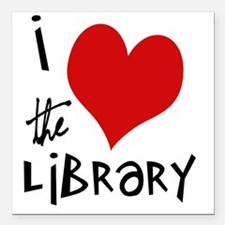 "Library Love  Square Car Magnet 3"" x 3"""
