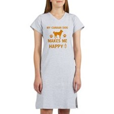 My Canaan Dog Makes Me Happy Women's Nightshirt