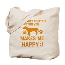 My Curly Coated Retriever Makes Me Happy Tote Bag