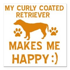 """My Curly Coated Retrieve Square Car Magnet 3"""" x 3"""""""