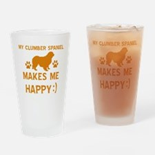 My Clumber Spaniel Makes Me Happy Drinking Glass